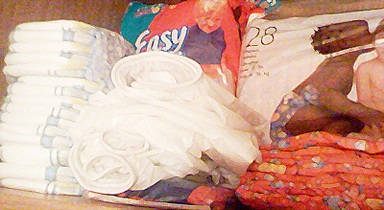 Adult baby diaper stash