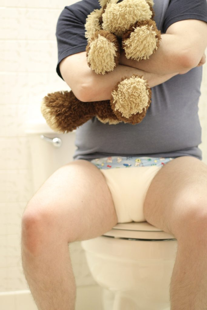 ABDL boy hugs plushy potty
